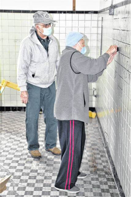 Volunteers Dick Cope, left, and Irene Varhola, right, lend a hand during the clean-up day held Saturday, April 17, 2021, at the Big Four Depot in Galion. Friends of the Galion Big Four Depot have planned Depot Day Galion for Saturday, May 22, 2021, to showcase the facility and offer tours. The day will include displays and presentations as well as mini-train rides.