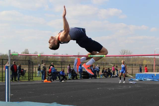 Galion's Caleb Branstetter clears the bar in the high jump during the Crawford County Track Meet on Friday, April 23, 2021, at Crestline High School's John A. McDonough Track. Branstetter and Colonel Crawford's Carter Valentine finished in a tie for first place in the high jump.