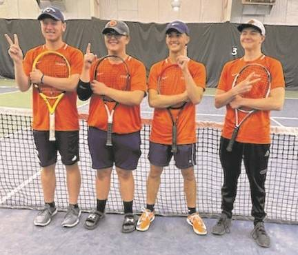 Galion High School tennis team members were all smiles after the doubles round of the Mid Ohio Athletic Conference tournament on Thursday, April 29, 2021, at the Lakewood Racquet Club in Lexington. First doubles team Zach Grimes and Jamie Hollis won the MOAC title, sweeping both matches they played. Second doubles tandem Nate Barre and John Evans finished runnerup. The tournament continues Saturday with singles action at Shelby High School.