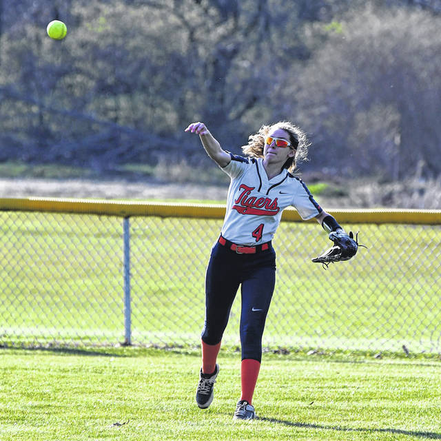 Galion's Emily McDonald throws the ball back into the infield during the Lady Tigers game against Marion Harding on Tuesday, April 6, 2021, at Heise Park. The Lady Presidents prevailed 13-5.