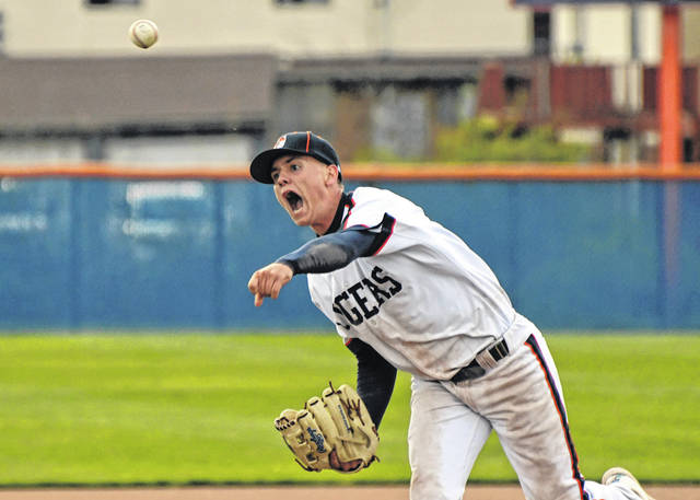 Galion's Carter Keinath delivers a pitch during the Tigers 2-1 win over Clear Fork on Wednesday, April 14, 2021, at Heise Park. Keinath pitched a complete game and earned the win for Galion. He allowed three hits and no earned runs. Keinath struck out two batters.