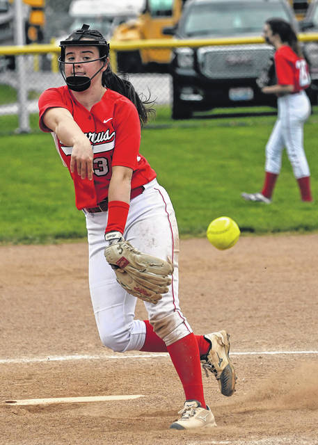 Caleigh Rister of Bucyrus delivers a pitch against Colonel Crawford on Wednesday, April 28, 2021, at Chuck Huggins Field in North Robinson. Rister's 14-strikeout performance against the Lady Eagles helped propel the Lady Red to a 6-3 victory and first place in the Northern 10 Athletic Conference softball standings. The two sides play again on Friday in Bucyrus.