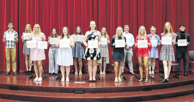 The Galion Community Foundation presented scholarships to local graduating seniors during an awards ceremony held Monday at Galion High School. More than 20 scholarships were awarded to local students.