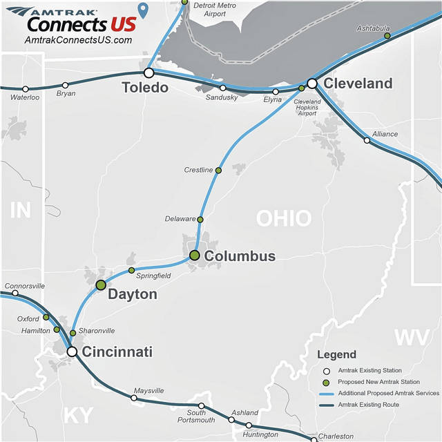 This map shows Amtrak's proposed passenger rail service routes in Ohio. The Village of Crestline has been selected as one of the stops on the proposed 3C+D Corridor, which would provide service linking Cleveland, Columbus, Dayton, and Cincinnati.