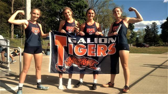 The Galion girls 4x100-meter relay squad won the Mid Ohio Athletic Conference championship on Thursday, May 13, 2021, in Marion. The team featured Kaitlin Bailey, Samantha Comer, Adriana Zeger, and Ashley Dyer. Their winning time was 52.39 seconds. Galion athletes won six events at the MOAC championship meet.