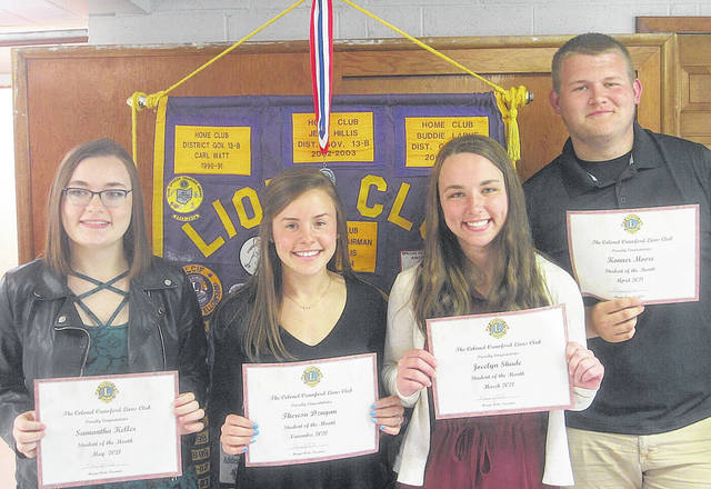 The Colonel Crawford Lions Club honored the students of the month for November 2020 and March, April, and May 2021 during its recent meeting. Pictured from left to right are Samantha Keller (May honoree), Theresa Dzugan (November honoree), Jocelyn Shade (March honoree), and Konner Moore (April honoree).