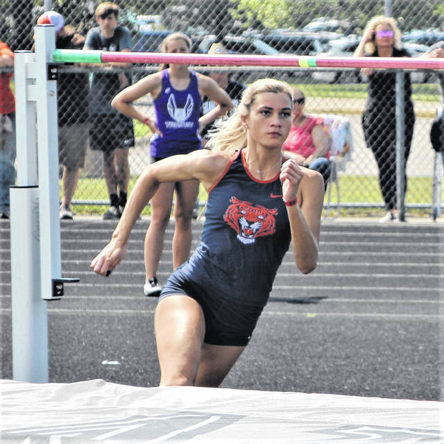 Galion senior Samantha Comer focuses intently on clearing the bar in the high jump on Friday, June 4, 2021, at the OHSAA Division II track and field championships at Pickerington High School North. She placed sixth in the event to earn a medal in her final season of competition.