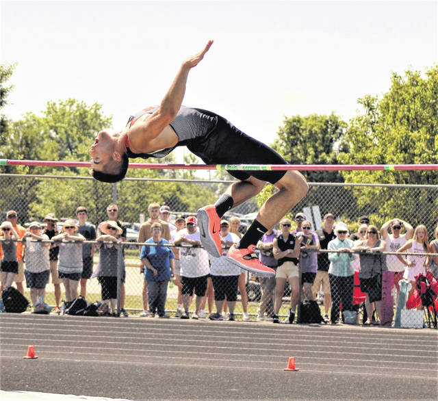 Galion's Caleb Branstetter competes in the finals of the boys high jump on Saturday, June 5, 2021, at the OHSAA Division II track and field championships at Pickerington High School North. He finished as the state runnerup in the event, clearing 6 feet, 6 inches. Joanthan Alder's Joey Walker won the state title with a leap of 6 feet, 8 inches.