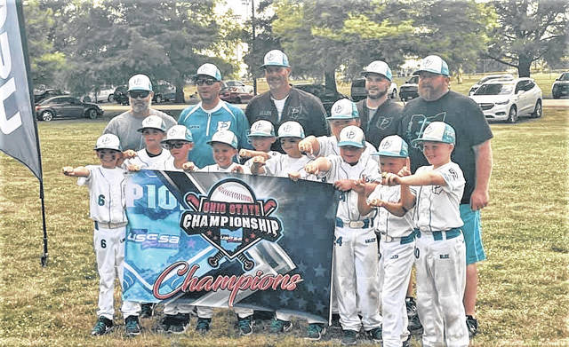 The Central Ohio Prime 9U baseball team, based in Galion, won the USSSA state championship which was played the weekend of June 24-27 in Columbus. The team finished the tournament with a 6-0 record. Team members are Xander Allen, Madden Binnix, Dominic Blue, Carter Crosswhite, Micah Galuzny, Mason Hardy, Deklyn Landon, Cael Logan, Emory Main, Lucas Prosser, Colton Randolph, and Parker Swaim. The team is coached by Thomas Swaim, Kelsey Main, Travis Landon, Nate Allen, and Joe Binnix.