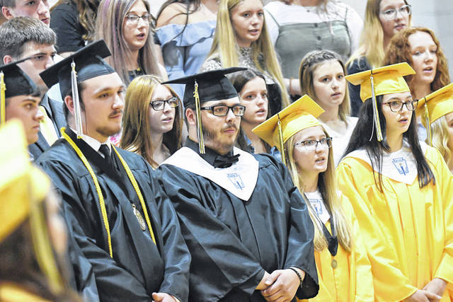 Members of the Northmor High School Class of 2021 joined with classmates in the choir during the commencement ceremony on Sunday, June 6, 2021. Seventy-one students received diplomas during the ceremony on Sunday.