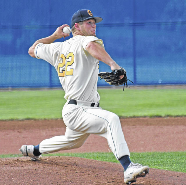 Galion's Jay Luikart slings a pitch during the Graders 5-4 win against Royal Oak on Sunday, June 27, 2021, at Heise Park. Luikart earned the win, giving up two runs on five hits in three innings of work. He recorded three strikeouts. Luikart also helped himself and the Graders in the batter's box, going 2-for-4 with a double, RBI, and scoring a run.