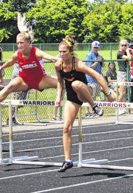 Colonel Crawford's Katie Ruffener qualified for the finals in both the 100- and 300-meter hurdles in action from the Friday, June 4, 2021, session of the OHSAA Division III state track and field championships at Westerville North High School.