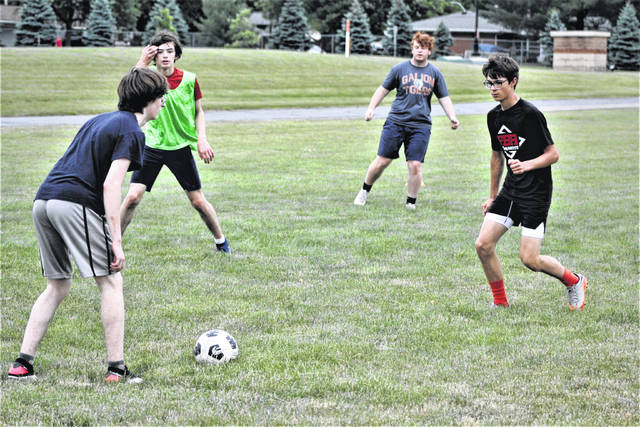 Members of the Galion High School boys soccer team participate in a ball possession drill during a recent training session at Galion Middle School. The Tigers will open the 2021 season on Saturday, Aug. 21 at Loudonville. The first home match is scheduled for Saturday, Sept. 4 against Pleasant.