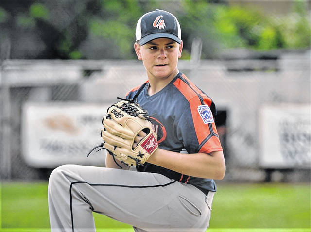 Preston Maley delivers a pitch for the Galion Youth Baseball 12U All-Stars at the Ohio state tournament being played at the Ironton National Little League Complex.