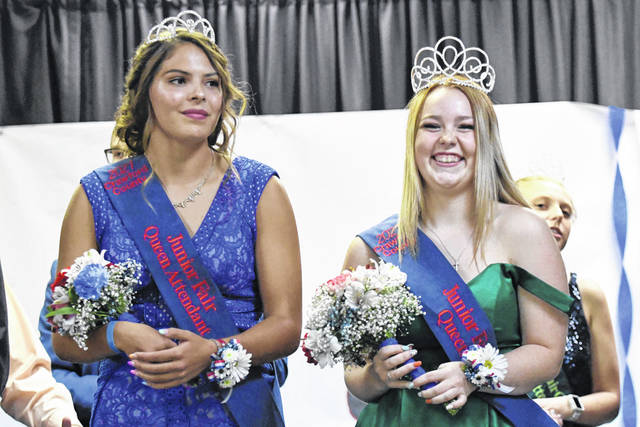 Hannah Feldman, right, is the 2021 Crawford County Junior Fair Queen. She was crowned during the ceremony on Monday, July 19, 2021, at the Youth Building. Corin Feik, left, is the Queen First Attendant for 2021.