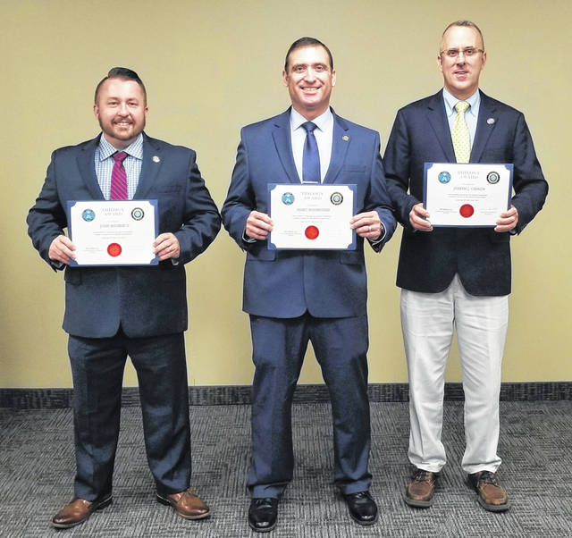 Galion Police Department personnel, from left to right, Lieutenant John Bourne, Police Chief Marc Rodriguez, and Lieutenant Joe Cinadr recently complete a leadership training program offered by the Federal Bureau of Investigation.