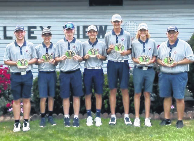 The Galion High School boys golf team won three of the four tournaments it played in this week. The Tigers claimed championship trophies at the Bucyrus Elks Invite, Galion Invitational, and Colt Classic. They finished fifth in the Warrior-Jaguar Classic on Tuesday in Sunbury. The Tigers are shown here with their trophies from the Galion Invitational played Wednesday at Valley View Golf Course.