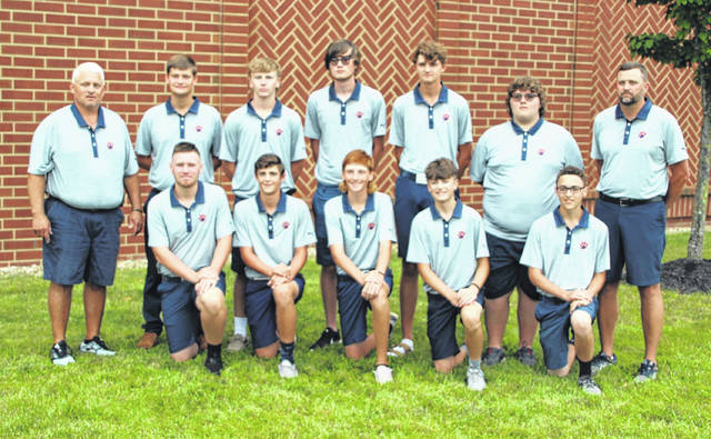 The 2021 Galion High School boys golf team features seniors Max Longwell and Ethan Thomas; juniors Nick McMullen and Nate Barre; sophomores Logan Keller, Braylen Hart, and Gavin Crim; and freshmen Nate McMullen, Carson Walker, and Jaxson Manley. Head Coach Bryce Lehman and Assistant Coach Justin McMullen are also pictured.