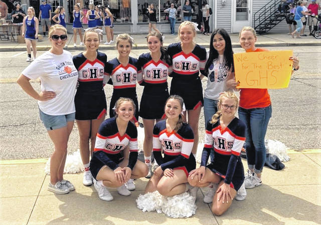 The Galion High School competition cheerleading poses for a photo during the Bratwurst Festival competition on Thursday, Aug. 19, 2021. Members of the team are seniors Melanie Wheeler and Ashlee Oris; juniors Hayli Marcum, Emma Von Der Hofen, Julia Aumend, and Tessalyn Parker; and freshman Carlee Pennington. Junior Anna Ruiz is the team manager. Mikayla Hackett and Olivia Tanner are the coaches of the team.
