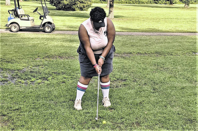 Galion senior Missy Vonhoupe shot 62 with a birdie for the Lady Tigers in their match against Highland on Wednesday, Aug. 18, 2021, at Wyandot Golf Course in Centerburg. The Lady Scots won the match, 207-232.