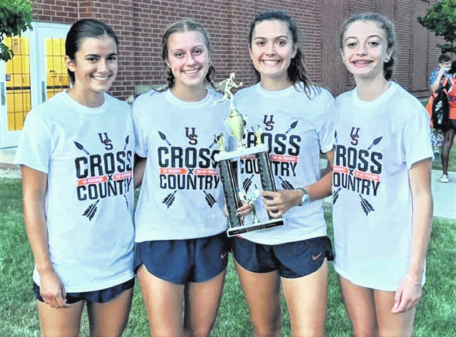 Four Galion runners earned medals at the Upper Sandusky Ice Breaker Invite on Tuesday, Aug. 24, 2021, at Harrison Smith Park in Upper Sandusky. Lady Tigers medalists are, from left, Nora Harding, Ava Smith, Zaynah Tate, and Raygann Campbell. Campbell was the top placer, finishing third at the meet.