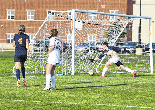 Galion's Whitney Kimble (4) watches as her shot beats the Tiffin Columbian goalkeeper for what turned out to be the match-winning goal with just 4:30 to play in the Lady Tigers 4-3 victory on Tuesday, Aug. 24, 2021. The win gave Galion its first win since 2019 and was the first victory on the school's new soccer field.