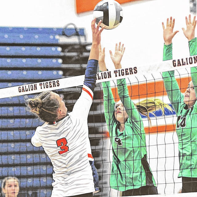 Galion's Ashley Dyer (3) tips the ball over the outstretched hands of Margaretta's Julia Berg (4) and Kylie Leibacher during the Lady Tigers' 3-2 win over the Polar Bears on Monday, Aug. 30, 2021. Dyer finished with 21 kills, a team high, and 13 digs.