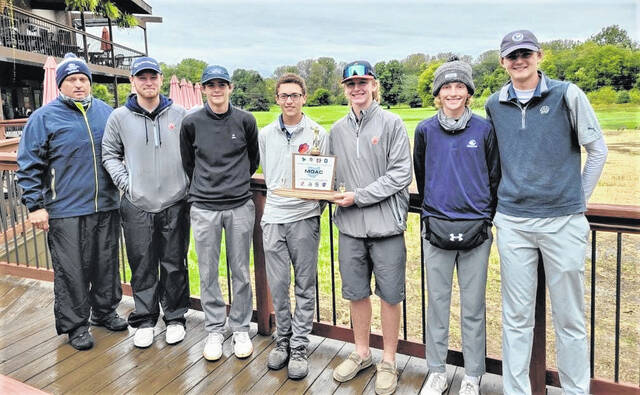 The Galion High School boys golf team won its fifth consecutive Mid Ohio Athletic Conference championship on Thursday, Sept. 23, 2021, at the Golf Club of Bucyrus. The Tigers shot a combined 331 to finish behind Clear Fork in the tournament standings, but finished the MOAC season with more total points to claim the conference title.