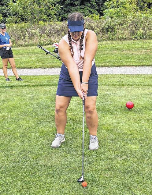 Galion's Julia Conner prepares to tee off against Wynford on Tuesday, Aug. 31, 2021, at the Golf Club of Bucyrus. Conner shot 47 to lead Galion.