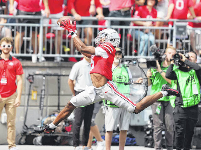Ohio State wide receiver Garrett Willson makes the catch for a touchdown in the first half of the Buckeyes' 35-28 loss to Oregon on Saturday, September 11, 2021, at Ohio Stadium in Columbus.