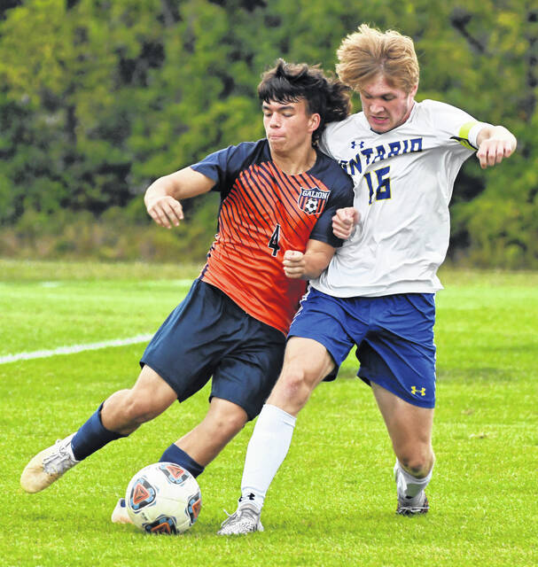 Galion's Ben Rinehart (4) and Ontario's Brody Conley (16) battle for control of the ball during the Monday, Sept. 20, 2021, match between the Tigers and Warriors. Ontario won the match 10-0 to claim sole possession of first place in the Mid Ohio Athletic Conference standings.