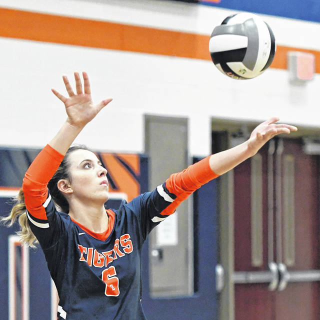 Galion's Ady Monk serves the ball during a Mid Ohio Athletic Conference volleyball match against Clear Fork on Tuesday, Aug. 31, 2021. The Lady Tigers swept the Lady Colts and then defeated Shelby on Thursday to win their fourth consecutive match.