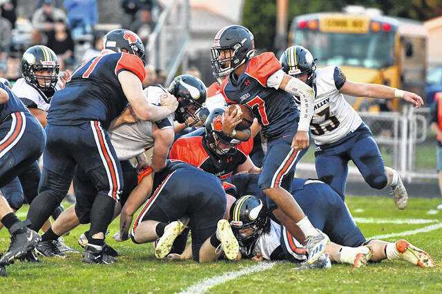 Galion's offensive line clears a path for running back Hanif Donaldson during the Tigers 42-25 win over River Valley on Friday, Sept. 10, 2021, at Unckrich Stadium. The Tigers' front line helped set the stage for Donaldson to rush for 309 yards and 6 touchdowns on 50 carries against the Vikings.