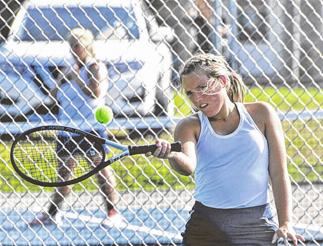 Galion's Lydia McCabe retuns a shot against Shelby during a match played Thursday, Sept. 16, 2021, at Heise Park. The Lady Whippets prevailed 4-1 to remain undefeated and in first place in the Mid Ohio Athletic Conference this season.