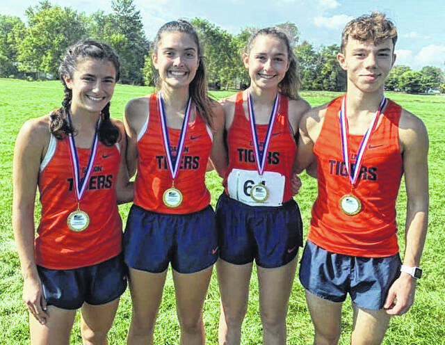 Galion cross country runners Nora Harding, Zaynah Tate, Emily McDonald, and Chad Taylor won meet medals for their performances at the Marion Harding Invitational on Saturday, Oct. 9, 2021, at Marion Harding High School.