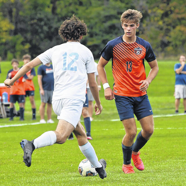 Galion senior Sam Albert (13) tallied a hat trick to lead the Tigers to a 5-2 win over River Valley on Tuesday, Oct. 12, 2021. The victory secured second place for Galion in the Mid Ohio Athletic Conference regular season standings. Galion will play at Huron in the opening round of the postseason playoffs on Thursday, Oct. 21.