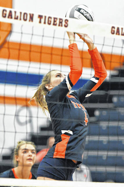 Galion's Hailey Young plays the ball at the net during the Tigers match against River Valley on Tuesday, Oct. 12, 2021. The Vikings prevailed 3-0. Galion wraps up regular season play on Saturday against Buckeye Central.
