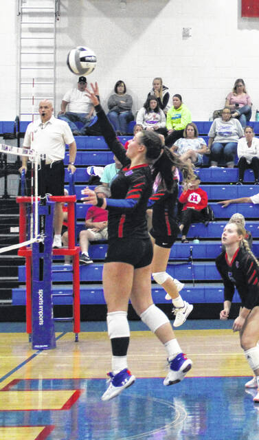 Kendall Stover of Highland recorded 20 kills Tuesday to help her team claim a 3-0 win over Galion.