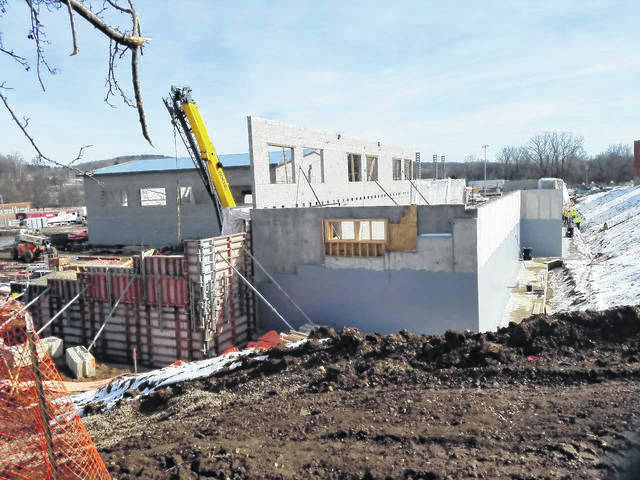 Outside walls are starting to be formed on the new Bellville elementary school, under construction in the village. Two portions of the building can be seen, located next to the 100-year old brick structure. A new school in Butler also is under construction. Louise Swartzwalder | Bellville Star
