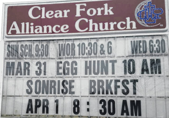 """This sign is season appropriate. It is inviting people to an Easter """"sonrise"""" service. This is posted at Clear Fork Alliance Church, outside Bellville. Louise Swartzwalder 