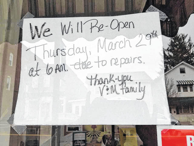 A sign is posted on the door of V & M Restaurant in Bellville, saying the facility is closed until Thursday for repairs. Roto Rooter trucks were stationed outside the restaurant starting Monday. Louise Swartzwalder   Bellville Star