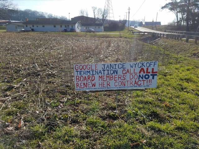This sign posted on a highway outside Bellville shows someone is not satisfied with the actions of Clear Fork Valley Schools superintendent Janice Wyckoff. A petition which says it was started by someone named Charles Rae has 70 signers, according to a web site. Louise Swartzwalder | Bellville Star