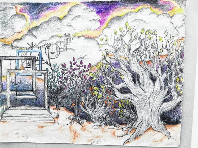 This brightly colored sketch was one of several in the display at Clear Fork Valley High School. Louise Swartzwalder | Bellville Star