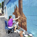 Mechanics Bank mural taking shape: Local artist's painting a rendition of old Bellville school building