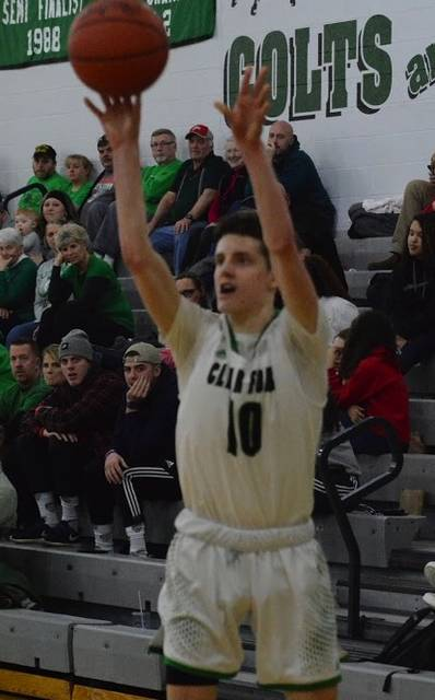 Gannon Seifert lets a jump shot fly in win over Harding Thursday night. The 6-1 guard was one of four seniors to play his final home game at the Colt Corral gymnasium.