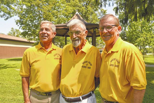 "From left, Tom Kaelber, Bill Everhart, and Kent Eastham will participate with the 30-member Buckeye Valley Alumni Band on Sunday to kick off the ""Harmony in the Park"" concert series. The performance begins at 7 p.m. Sunday at Bicentennial Park on Washington Street."