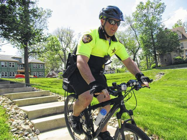 Dep. Mike Scalley participates in a training exercise during the International Police Mountain Bike Association Conference last week.