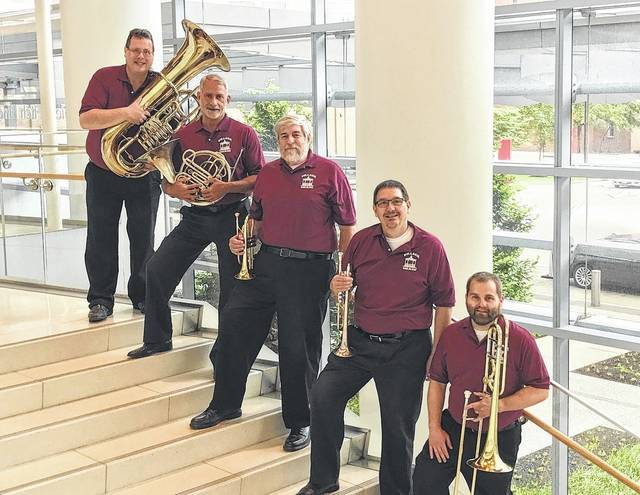 The Central Ohio Symphony Brass Quintet is comprised of Bob Munson, tuba; Todd Swatsler, french horn; Dale Nawrocki and John Bierley, trumpets; and Tony Weikel, trombone. They will perform at 7:30 p.m. Saturday at McNamara Park in Genoa Township.