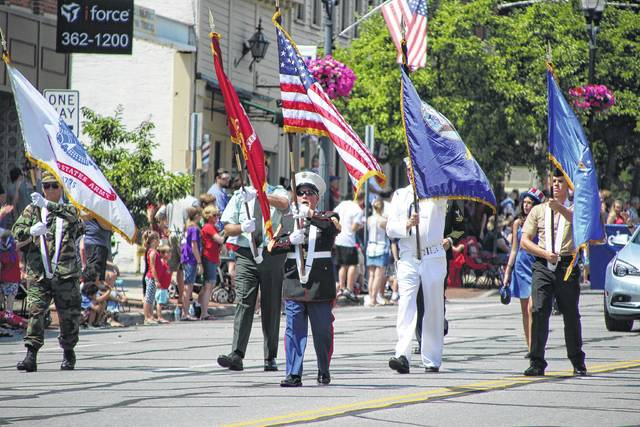 Old Glory, carried safely in the sure hands of a United States Marine Corps veteran, led the 2017 Independence Day parade through the streets of Delaware. The veterans bearing the flags received a standing ovation from residents watching along the route, which began on North Liberty Street at the county fairgrounds, made its way east on Pennsylvania Avenue, and then south on Sandusky Street through the city's downtown district. Local veterans organizations, first responders, civic groups, youth organizations, churches, businesses, and politicians were represented in the annual parade.