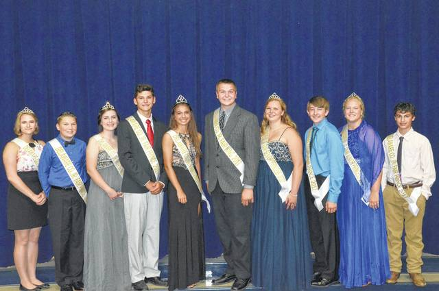 The Delaware County Junior Fair court for 2017 features, from left, Junior Princess Kayla Kramer, Prince Ethan Bender, Senior Princess Claire Schenk, Prince Cole Wecker, Queen Kaitlin Meade, King Donnie Smith, Senior Princess Bree Vining, Prince Jacob Carey, Junior Princess Faith Myers, and Prince Gestin Delelles. The fair is scheduled for Sept. 16-23.
